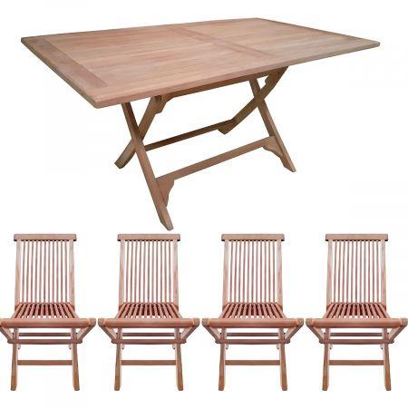 Salon de jardin en teck : table rectangulaire et 4 chaises pliables