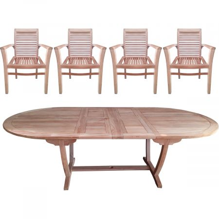 Salon de jardin en teck : table ovale extensible et 6 fauteuils