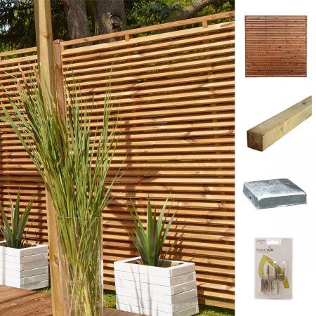 Kit pour écrans ajourés en bois 180x180cm effet persienne traité autoclave 3 - Persienne