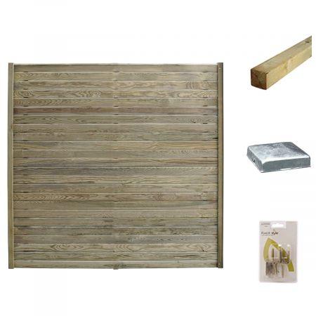 Kit pour écrans occultants en bois déstructurés 180x176cm traité autoclave 3 - Isya