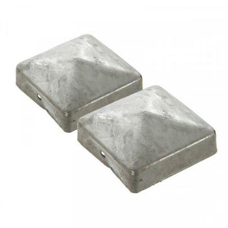 Chapeau Pyramide galvanisé vendu par 2  pour poteau 90x90 mm